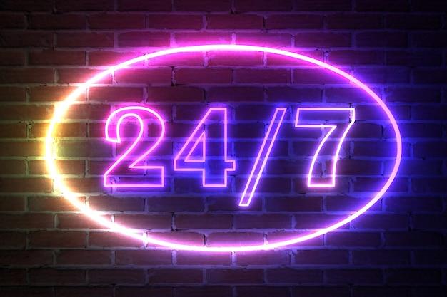 Ellipse neon light frame mit 24 stunden und 7 tage die woche zeichen vor backsteinmauer. 3d-rendering
