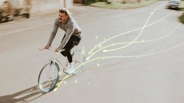 Emissionsfreier transport mit fahrradhintergrund für menschen