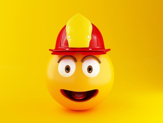 Emoji des feuerwehrmanns 3d mit helment