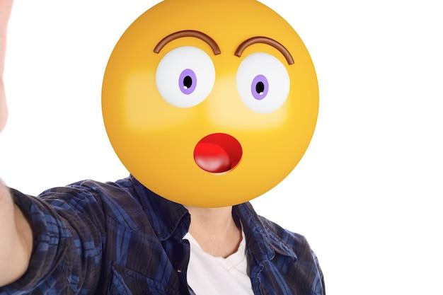 Emoji-hauptmann, der selfie nimmt.