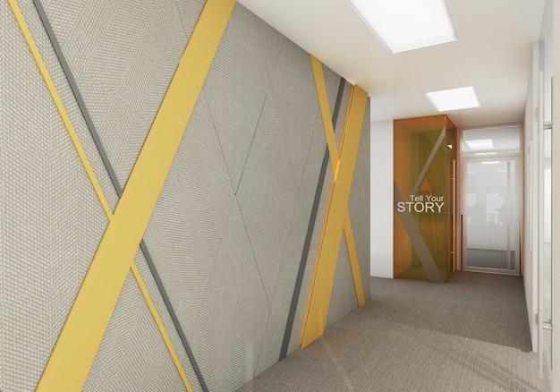 Empfang des büros arbeitsbereich im modernen büro mit teppichboden und konferenzraum in gelber und grauer farbe. innen 3d-rendering