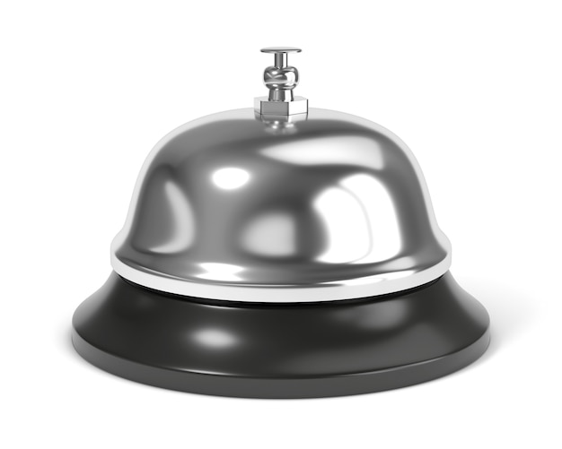 Empfangsglocke mit knopf lokalisiert auf weißem hintergrund