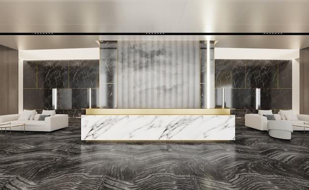 Empfangshalle aus marmor und wohnzimmersofa neben 3d-illustration
