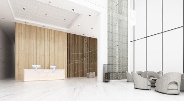 Empfangshalle im hotel die decke ist hoch mit blick auf das mezzanin, es gibt einen wartebereich. dekorieren sie im chinesischen stil und muster mit holz- und metallmaterialien mit empfangstheke. 3d-rendering
