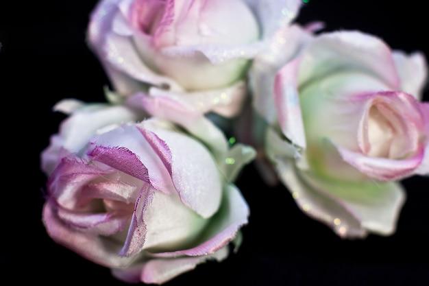 Empfindliche rosa rosen des frühlinges lokalisiert auf einem schwarzen hintergrund. künstliche seidenblumen
