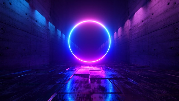 Endloser flug in einem futuristischen dunklen korridor mit neonlicht. ein heller neonkreis vor.