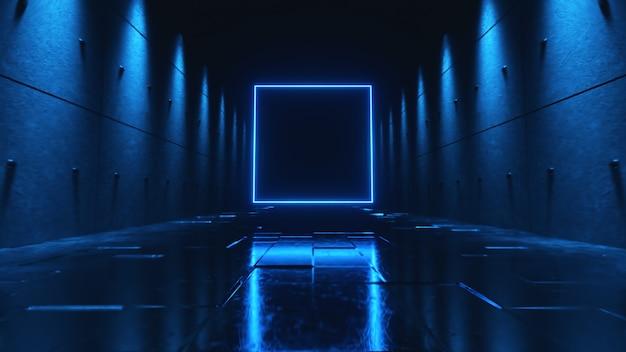 Endloser flug in einem futuristischen dunklen korridor mit neonlicht. ein helles neonquadrat vor.
