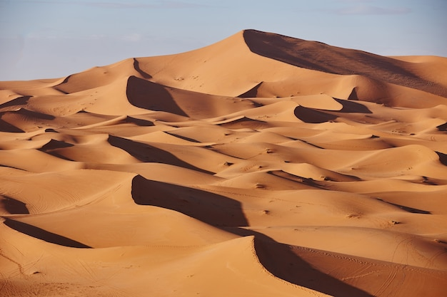 Endloser sand der sahara. schöner sonnenuntergang über sanddünen von sahara desert marokko afrika