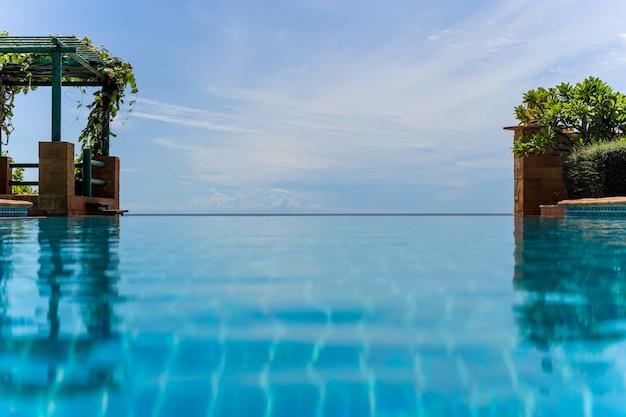 Endloser swimmingpool mit hintergrundnaturlandschaft des blauen himmels.