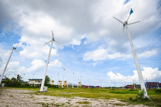 Energie-grün eco-energie der windkraftanlage landschaftsnatürliche