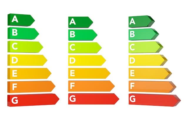 Energieeffizienz-rating-charts auf weißem hintergrund