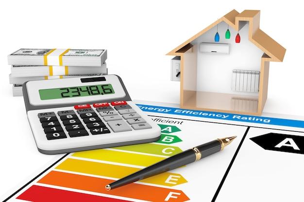 Energieeffizienzbewertung mit haus auf weißem hintergrund