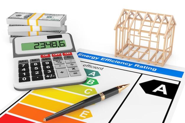 Energieeffizienzbewertung mit hausrahmen auf weißem hintergrund