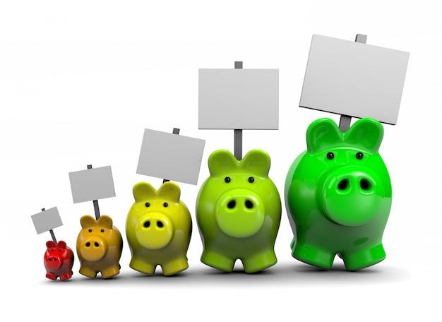 Energieeinsparungen, sparschweine mit schildern