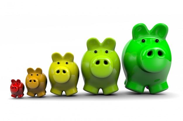 Energieeinsparungen, sparschweine