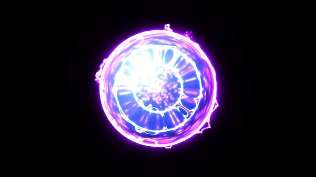 Energieplexus-ballkern auf schwarzem hintergrund