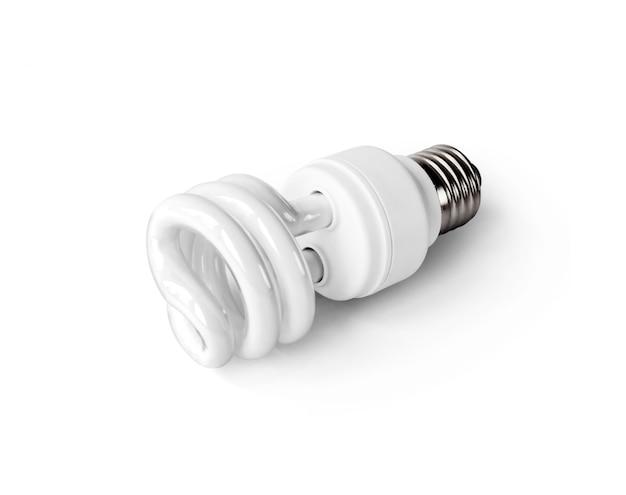 Energiesparende leuchtstoff glühlampe auf weiß