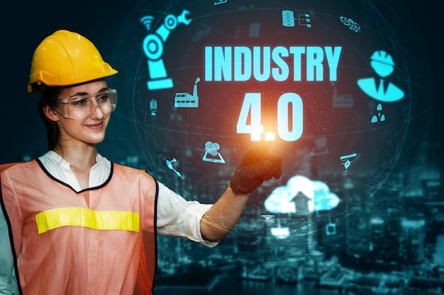 Engineering-technologie und industrie 4.0 smart factory-konzept