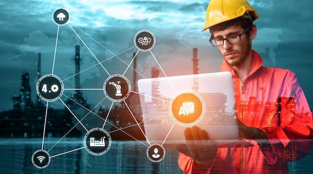Engineering-technologie und industrie 4.0 smart factory-konzept