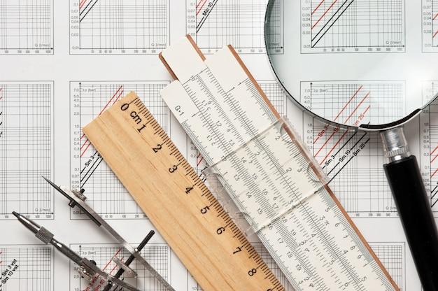 Engineering-tools auf einer technischen zeichnung