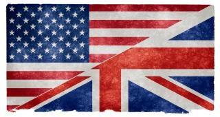 Englisch sprache grunge flag getreide