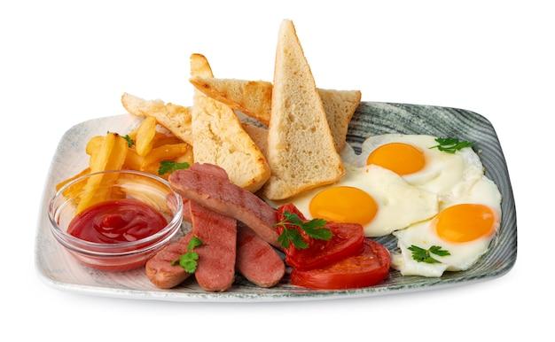 Englischer frühstücksteller isoliert auf weißem hintergrund