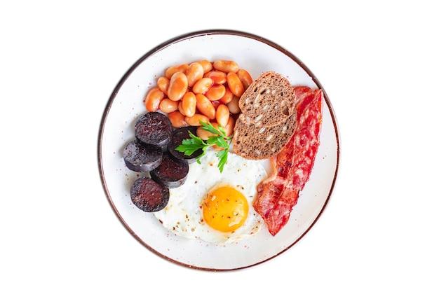 Englisches frühstück spiegelei frische blutwurst blutwurst müsli brot bohnen speck