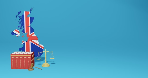 Englisches gesetz für infografiken, social media-inhalte in 3d-rendering