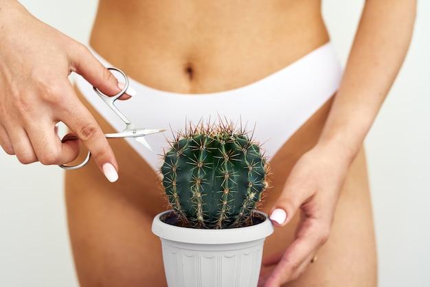 Enthaarung im bikinizonenkonzept. epilationskonzept, intimhygiene