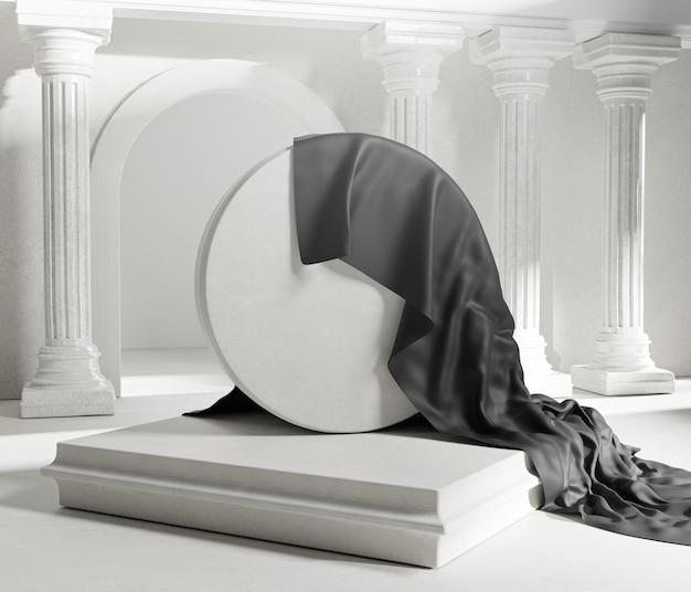 Enthüllen sie den schwarzen stoffbezug von round stone classic colums pillars. leeres space mockup template 3d-rendering