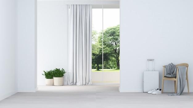 Entspannen sie sich rauminnenraum minimal und die wanddekoration, die im apartment- leer ist