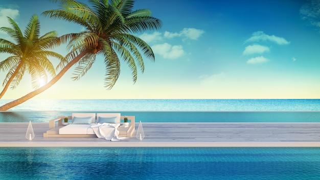 Entspannender sommer, strandlounge, sonnendeck und privater swimmingpool