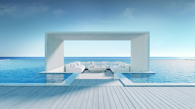 Entspannendes summe, strandaufenthaltsraum, ein sonnenbad nehmende plattform und privater swimmingpool nahe strand und panoramischer seeansicht an der wiedergabe des luxushauses 3d