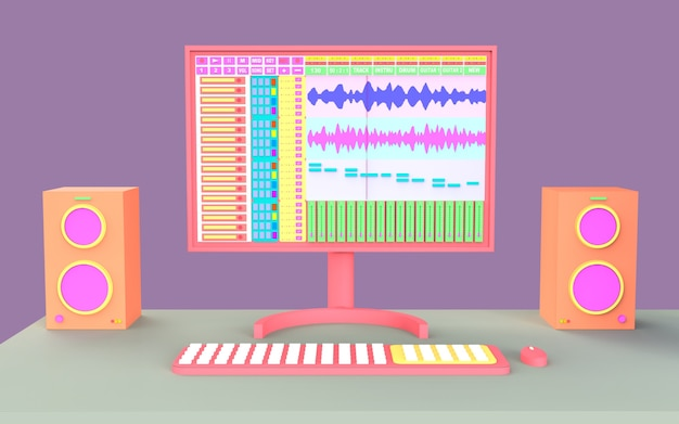 Entwerfen sie ein süßes studio-musikaufnahme-illustrationsset mit tisch- und ton-audio-produktions-arrangeur