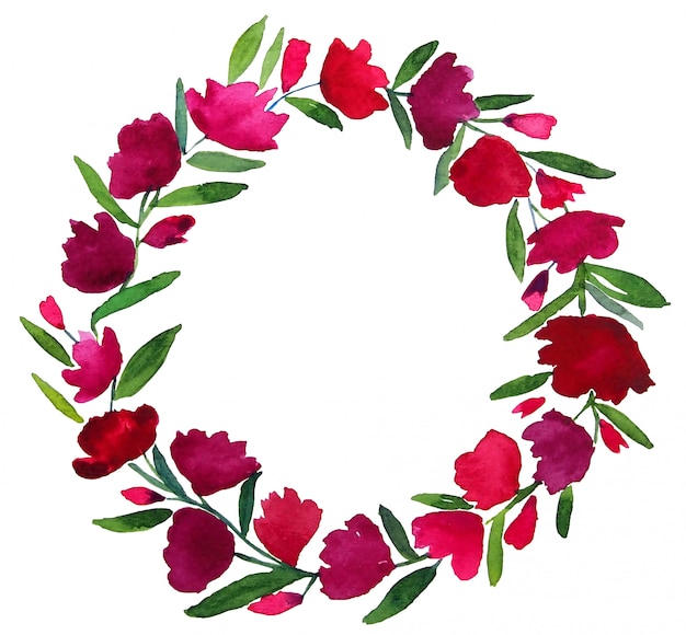 Entworfene aquarellmalerei des roten rosa lila violetten blumenkreiskranzes mit grünen blättern und kopienraum auf weißem hintergrund. elemente wurden isoliert und pfad abgeschnitten.