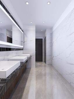 Entwurf einer öffentlichen toilette aus weißem und schwarzem marmor. 3d-rendering