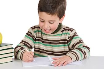 Entzückendes Kindschreiben in der Schule auf einem over white Background