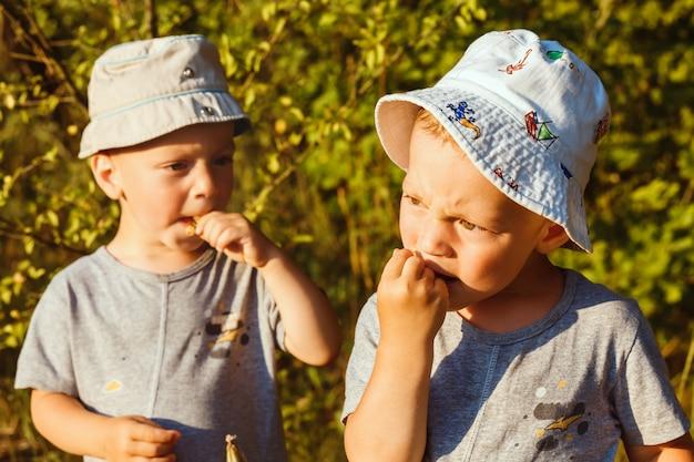Entzückende kleine jungen essen weiße johannisbeere