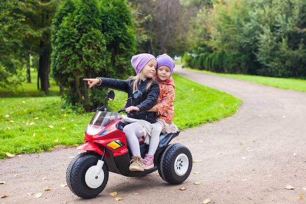Entzückende kleine mädchen, die auf fahrrad des kindes im grünen park fahren