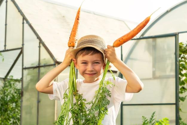 Entzückender kleiner kinderjunge im strohhut mit karotten im hausgarten. kindergartenarbeit und ernte. konzept von gesundem bio-gemüse für kinder. vegetarismus für kinder