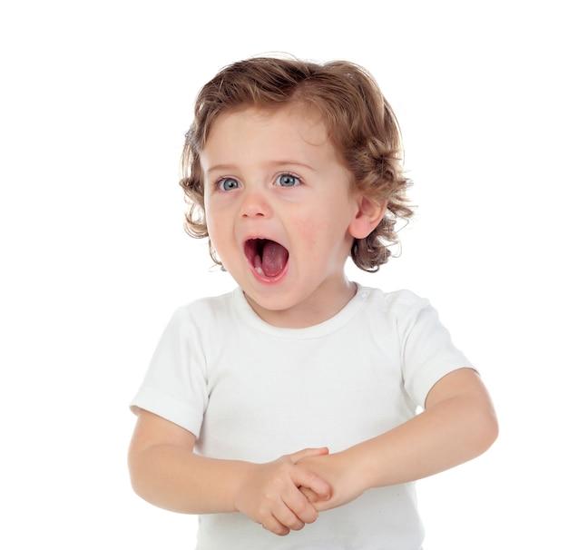 Entzückendes baby, das lernt zu sprechen