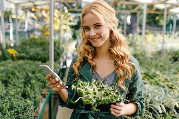 Entzückendes mädchen mit hellgrünen augen und langen locken in guter laune. porträt im gewächshaus des hübschen modells, das telefon und pflanze in ihren händen hält