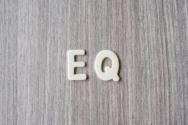 Eq-wort von buchstaben des hölzernen alphabetes. geschäfts- und ideenkonzept
