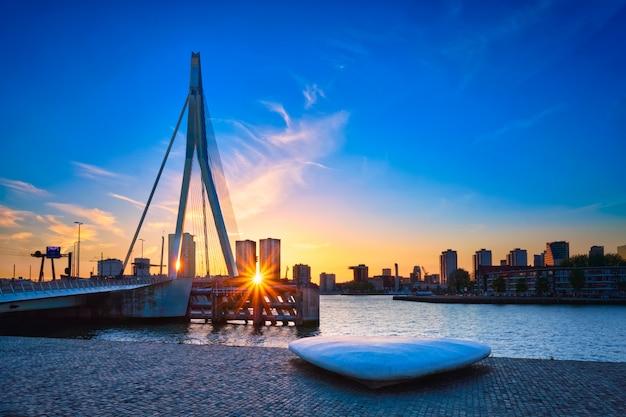 Erasmus-brücke auf sonnenuntergang, rotterdam, niederlande