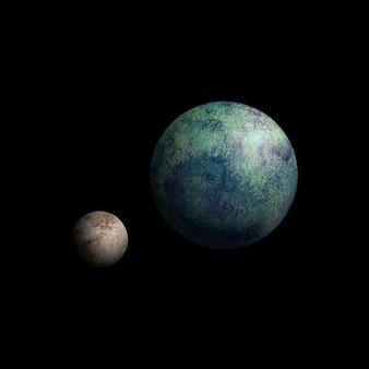 Erd- und mondaquarellillustration auf schwarzem himmelshintergrund. aquarell handgezeichnete erde mit satelliten-mond-magie-nacht-kunstwerk-illustration. abstrakte planetenscheibe