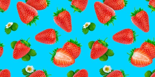 Erdbeer nahtloses muster auf blauer oberfläche