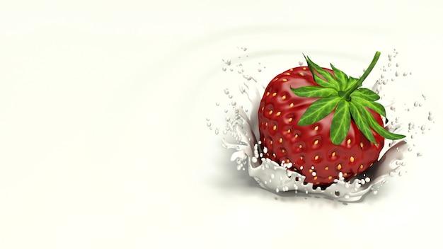 Erdbeere, die in spritzende milch fällt