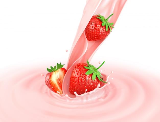 Erdbeere mit spritzmilch