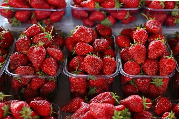 Erdbeeren auf dem markt widersprechen, frische sommerbeeren.