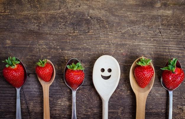 Erdbeeren auf vintage löffel